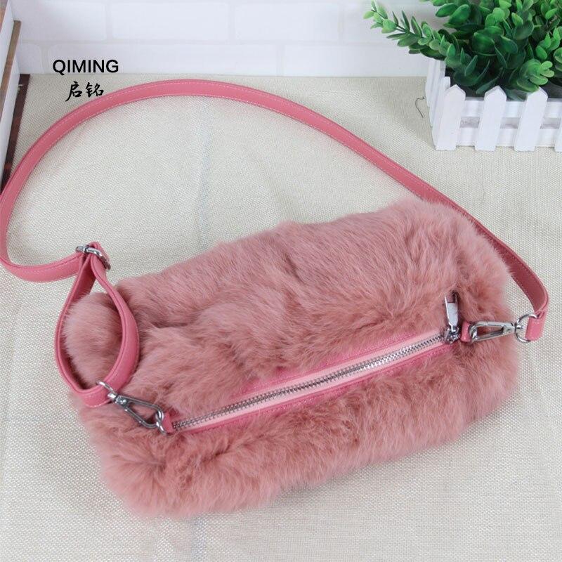 Sac diagonale femmes réel rex fourrure de lapin sac à bandoulière hiver chaud sac à main mignon rose diagonale sac croisé shopping femmes P #15