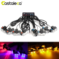 Castaleca 8x2 Police LED Strobe Grill Light Kit Car Emergency Warning Ultra Bright Flash 16LED Marker Light Red Blue Amber White