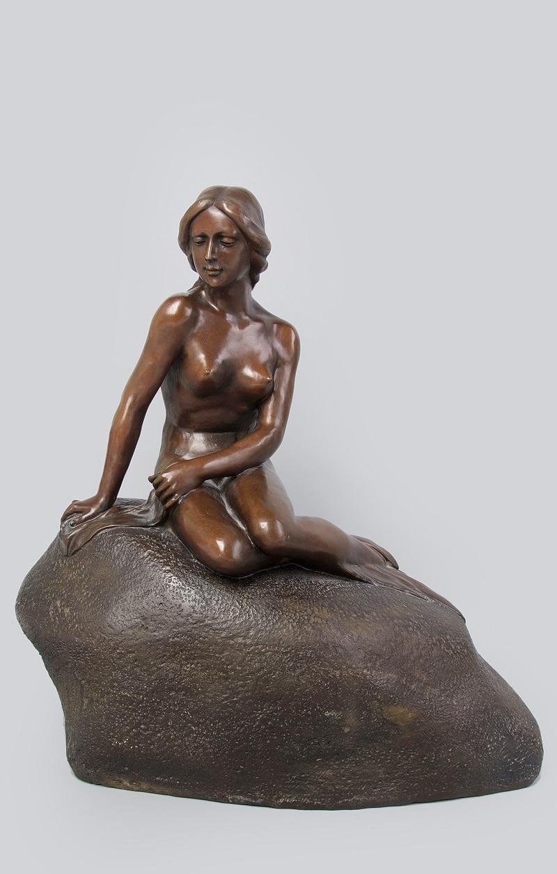 Arts Crafts Copper Hot Antiques Danish Metal Mermaid Art Statue Western World Famous Bronze Sculpture Sexy Nude Belle Girl Figur|figurative wood sculpture|figure weights|figure love - title=