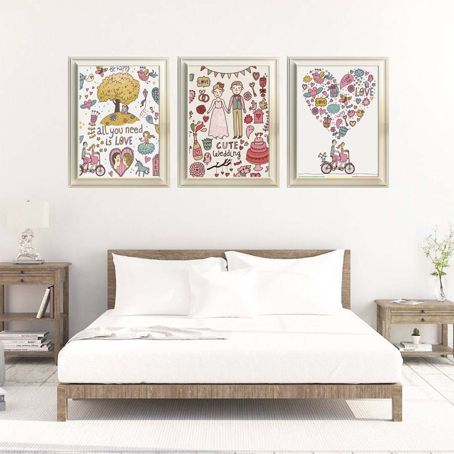 Romantic All You Need Love Cute Wedding Canvas Painting