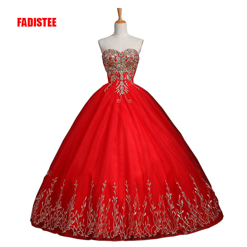 FADISTEE new arrive party   prom     dress   Vestido de Festa strapless A-line satin lace-up back appliques luxury free shipping