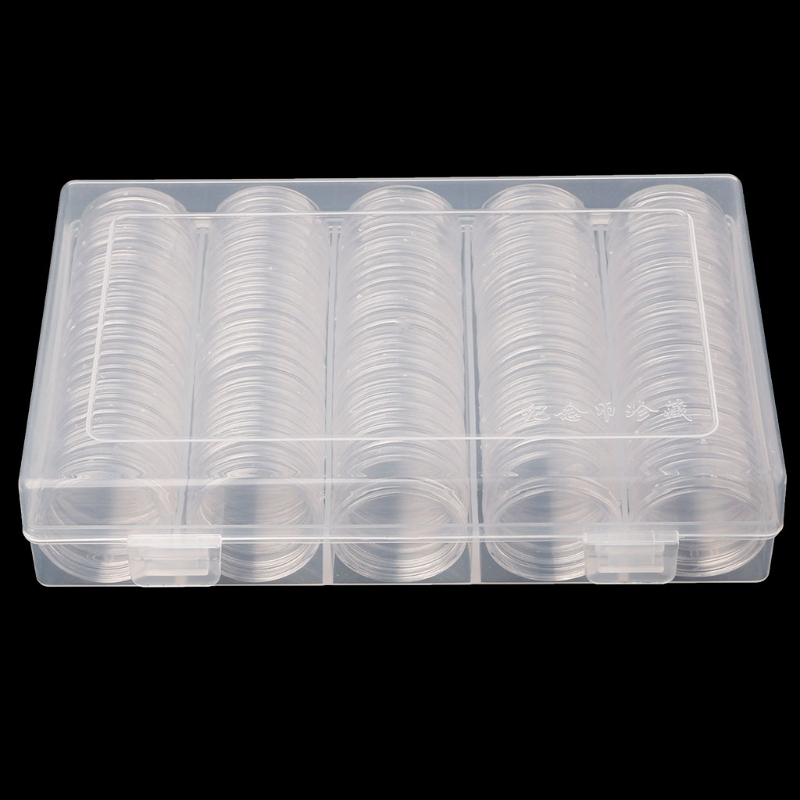 100 Coin Holder Capsules 30mm Round Box Plastic collectibles Storage Organizer