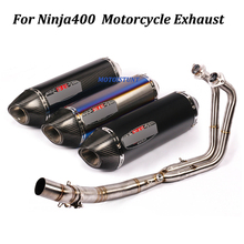 Full Exhaust System Yoshimura Motorcycle Exhaust Muffler Modified With Front Middle Link Pipe Slip on For Kawasaki Ninja400 zx14r zzr1400 full system slip on for kawasaki zx 14r motorcycle exhaust muffler with middle link pipe sticker carbon