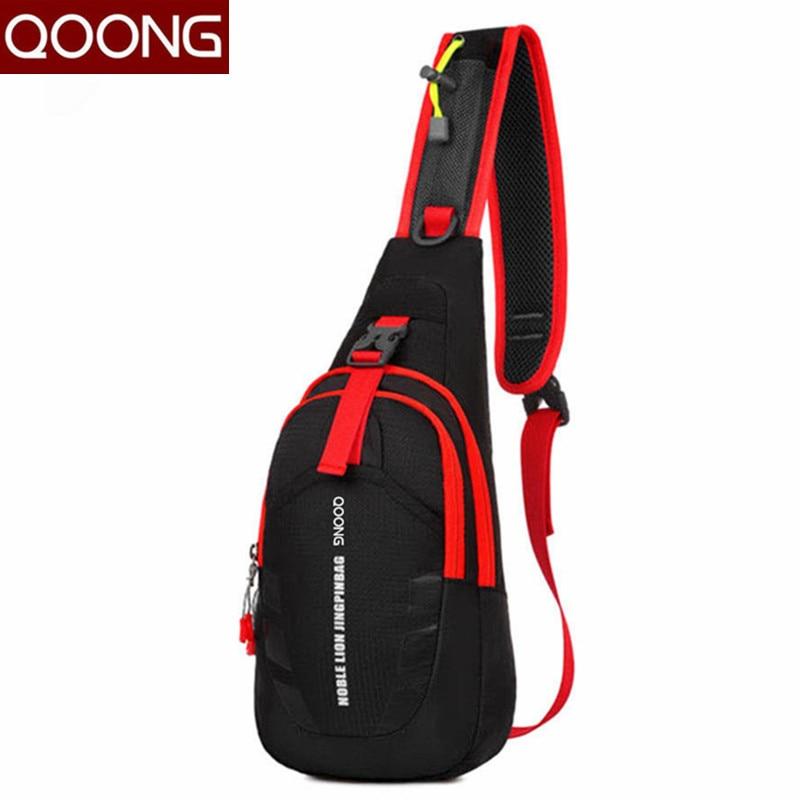 """QOONG modes vīriešu sieviešu soma mīl """"Crossbody Bag brīvā laika ūdensnecaurlaidīga krūšu vidukļa pakete Pāris modes plecu Fanny somas maisiņš"""