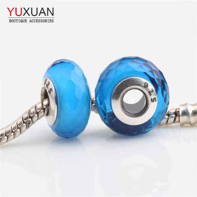 Faceted Glass Charm Beads Fits Pandor Bracelets Original 925 Sterling Silver Blue Faceted Glass Beads Jewelry H128