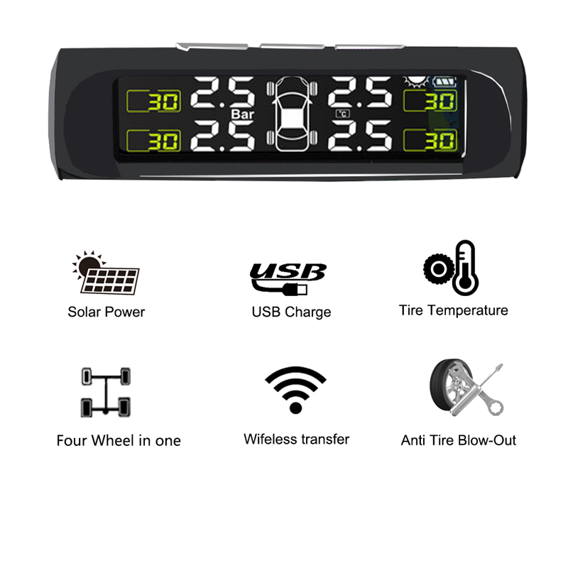 Auto tire pressure monitor solar charging intelligent display Precision Detection System Solar Power Large Screen With Buzzer