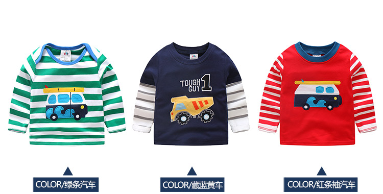 2018 Spring Autumn For 2-9 10 Years Children Cotton Striped Patchwork Cartoon Car Bus Truck Baby Kids Boys Long Sleeve T Shirts (16)