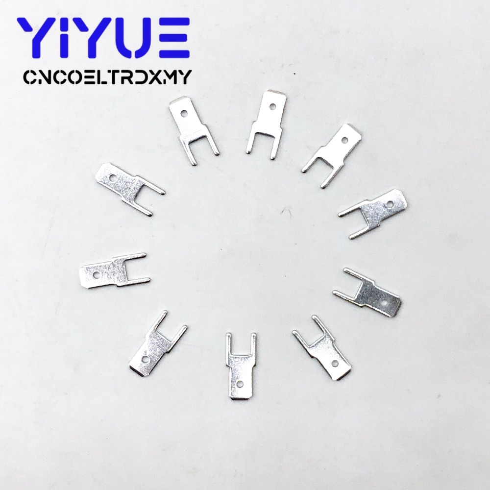 100Pcs 4 8 Inserts Plug male Terminal 250 PCB Solder lug thickness 0 8 two legs PCB welding sheet in Terminals from Home Improvement