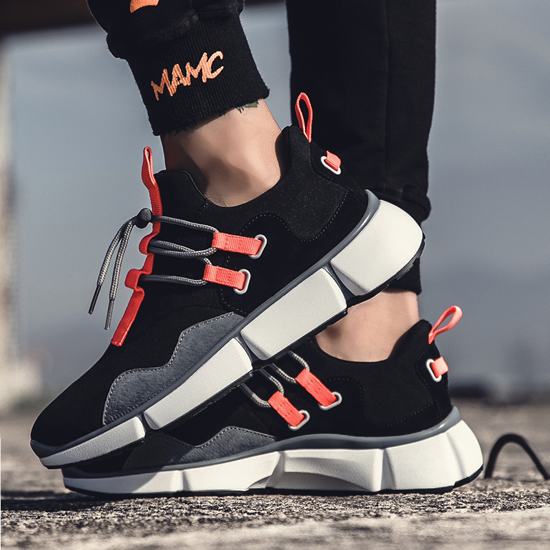 2018 new spring mens shoes running shoes students black shoes mens thick bottom low tide shoes ...