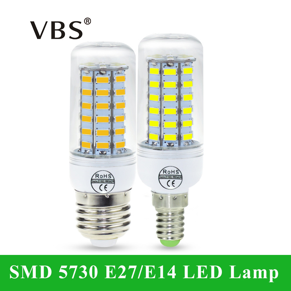 SMD 5730 E27 E14 LED Lamp 5730SMD LED Lights Corn Led Bulb <font><b>24</b></font> 36 48 56 69Leds Chandelier Candle Lighting Home Decoration image