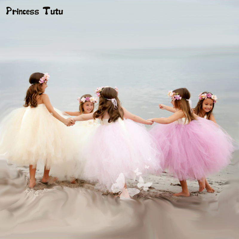 купить Gorgeous Girl Princess Tutu Dress Children Pageant Party Gowns for Kids Girls Tulle Wedding Flower Girl Dresses Robe Fille 1-14Y дешево