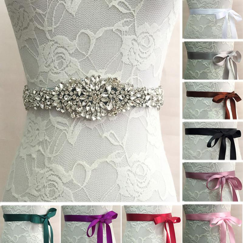 Fashion Ribbon Crystal Rhinestone Belt Women Wedding Bridal Dress Belt Cummerbunds Waistband Girdle Accessory #2
