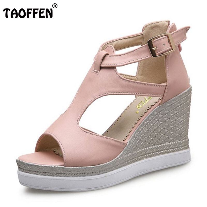 TAOFFEN Women Wedges Sandals Ladies High Heel Shoes Woman Fretwork Buckle Zipper Platform Footwear Open Toe Shoes Size 34-43 phyanic 2017 gladiator sandals gold silver shoes woman summer platform wedges glitters creepers casual women shoes phy3323
