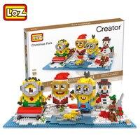 LOZ Diamant Blokken Kerst Minion Sets Veiling Figures DIY Building Speelgoed voor Xmas Geschenken Speelgoed Kinderen Gift 9395-9396