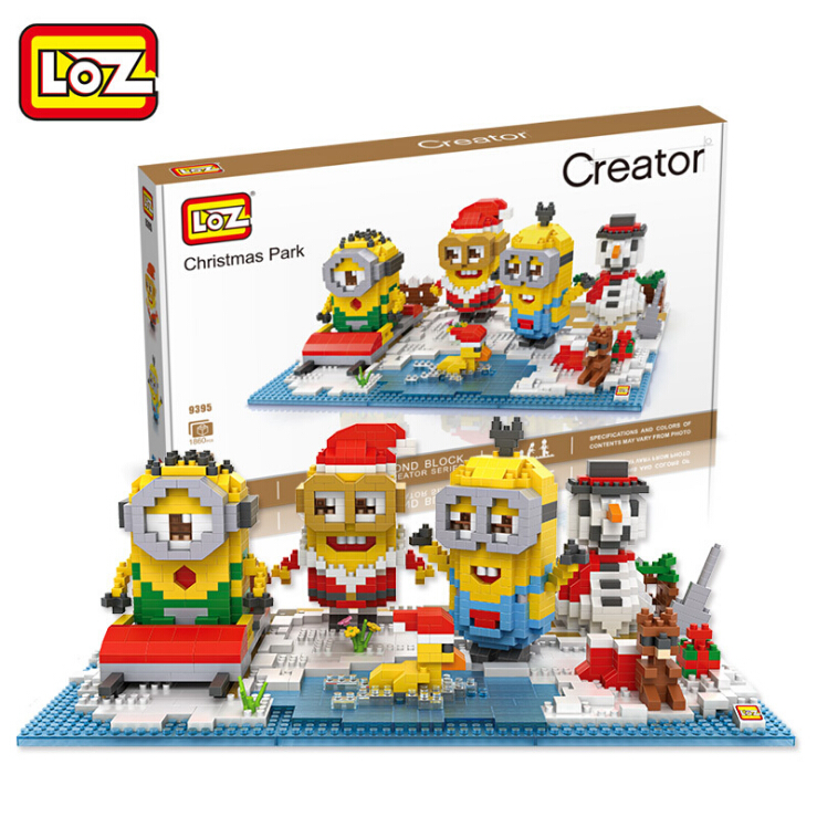 LOZ Diamond Blocks Christmas Minion Sets  Auction Figures DIY Building Toys  for Xmas Gifts Kids Toys Children Gift 9395-9396 mr froger loz dutch windmill diamond block world famous architecture series design diy building blocks classic toys children