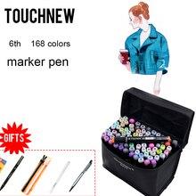 Touchnew 168 Colore Disegno Marcatori Doppia Headed Alcool Marcatori per Larchitettura Della Pittura di Disegno Rifornimenti di Arte