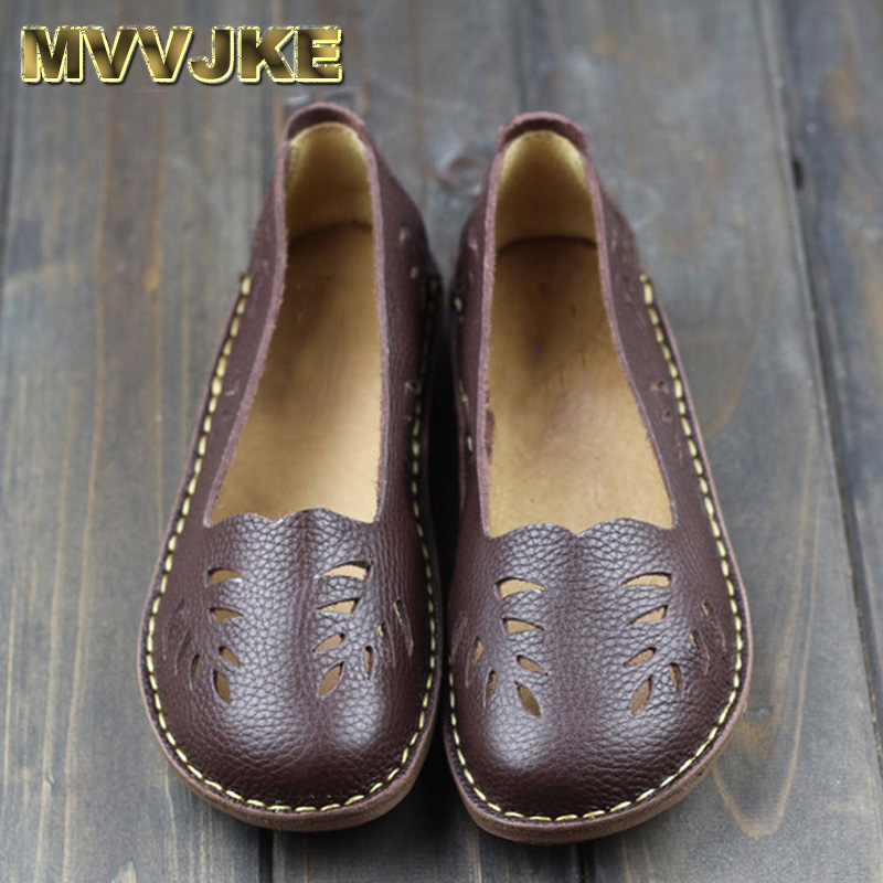 MVVJKE Women's Shoes Genuine Leather Slip on Ladies Flat Shoes Round to Hollow out Breathable Summer Shoes Female Footwear 2018 women summer slip on breathable flat shoes leisure female footwear fashion ladies canvas shoes women casual shoes hld919