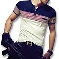 2016 M-5XL nuevos hombres Hombre Tees verano Tops manga corta camisetas de Hombre de moda Casual Slim Fit hombres duros del estilo camisetas Camisa