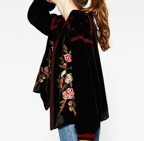Corto Cappotto Nero Lunghe Con Maniche Velluto Di Fashion Rilievo Colletto Donna Jacket Giacche Tondo Ricamati New In 2016 Etnico Fiori Giacca aqInH4