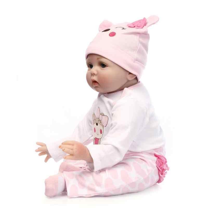 55 CM cuerpo suave silicona bebes Reborn bebé muñeca juguete para niñas recién nacido bebé cumpleaños regalo hora de dormir educación temprana Navidad regalo