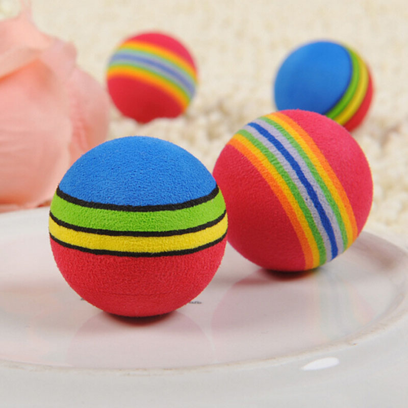 New Funny Pet Toy Baby Dog Cat Toys 3.5cm Rainbow Colorful Play Balls For Pets Products  Tb Sale