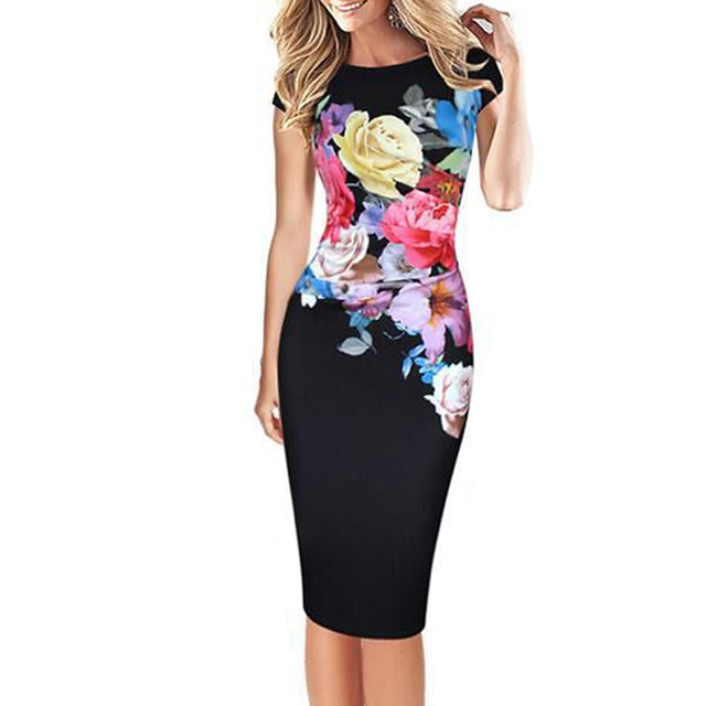 Elegant Women Rose Print Office Dress Short Sleeve Business Party Formal  Dress Plus Size Bodycon Pencil Work Dress Vestidos XXXL 85b00ac3c065
