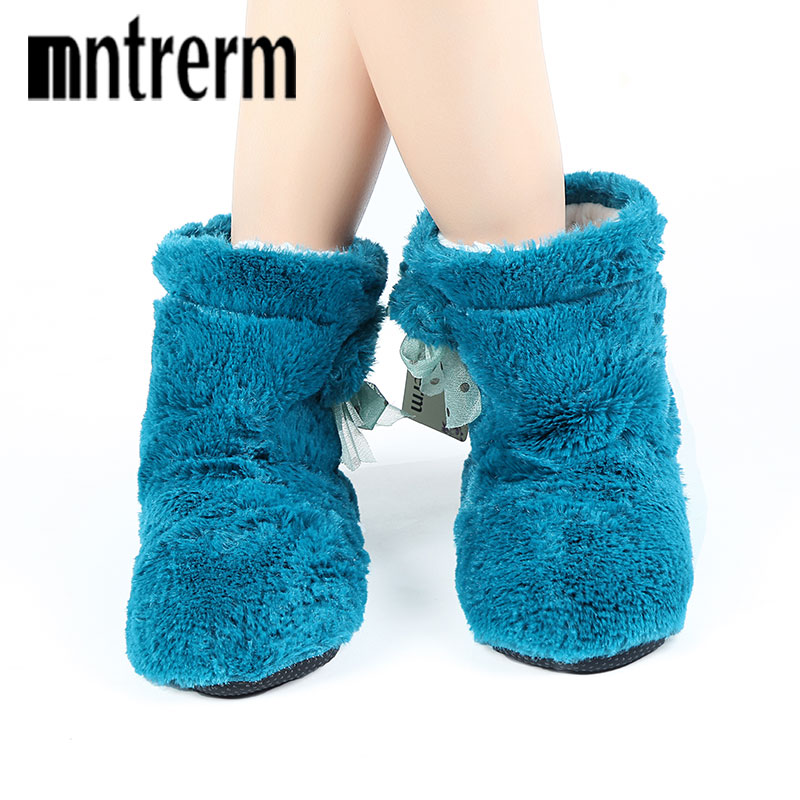 Mntrerm 2017 Candy color Warm Home Slippers Women Bedroom Winter Slippers Cartoon Bowtie Indoor Slippers Cotton Floor Home Shoes
