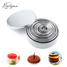 LMETJMA 14Pcs/Set Round Cookie Biscuit Cutter Set Stainless Steel Mousse Cake Ring Mold Pastry Biscuit Donuts Cutter KC0136 14pcs set stainless steel dumplings wrappers cutter maker tools cake moulds mousse ring round stainless steel cookie molds set