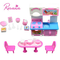 20Pcs 3 Colors Kitchen Set For Barbie Doll Furniture Accessories Fashion Dinner Table Cupboard Sink Kitchenware