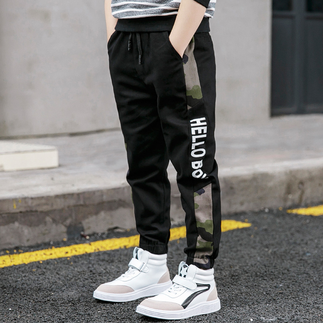 Pants for Boys Spliced Beam Foot Trousers Cotton Casual Sports Pants Clothes for Teenagers Boys 8 10 12 14 16 Years Spring 2020 2