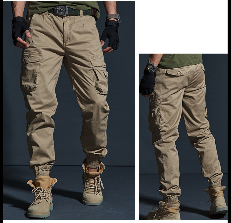 High Quality Khaki Casual Pants Men Military Tactical Joggers Camouflage Cargo Pants Multi-Pocket Fashions Black Army Trousers 71