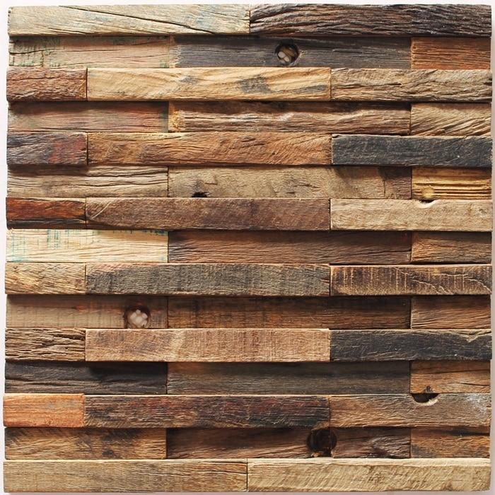 EHW1016 3D strip rustic old wood mosaic tile kitchen backsplash tile  ancient wood mosaic panels mesh - Popular Wooden Mosaic Tiles-Buy Cheap Wooden Mosaic Tiles Lots