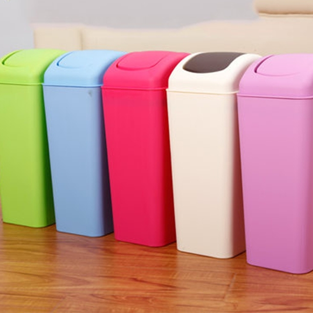 European Style Rolling Cover Type Trash Can Household Kitchen Bathroom  Waste Bins