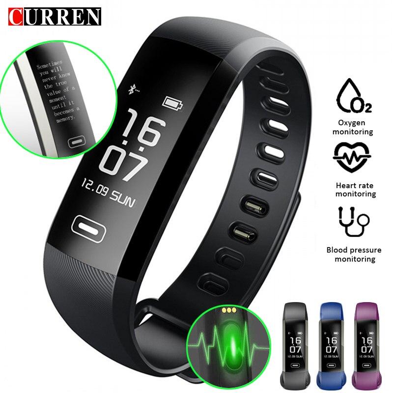 CURREN M2 R5 Pro pulsera inteligente rastreador de Fitness pulsera de corazón de presión arterial reloj de pulso de SMS oxígeno llamada deporte