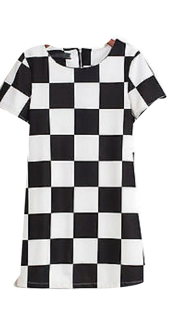 baf3bcba07c06 Classic Black Lattice Check Go Zipper Back Short Sleeve Dress XS S M #D1L
