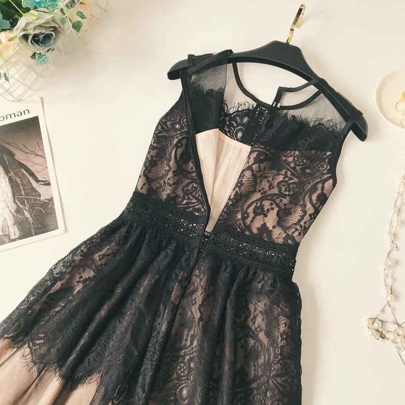 2019 летнее платье без рукавов с высокой талией, Сетчатое черное кружевное платье на бретелях, женские платья, винтажные женские платья, вечерние сексуальные платья C3973