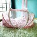 4 Pçs/set Algodão Cama de Bebê Com Mosquiteiro Travesseiro Conjunto Mat Dobrável Portátil Bebê Recém-nascido crianças dos miúdos Do Bebê Berço Berço