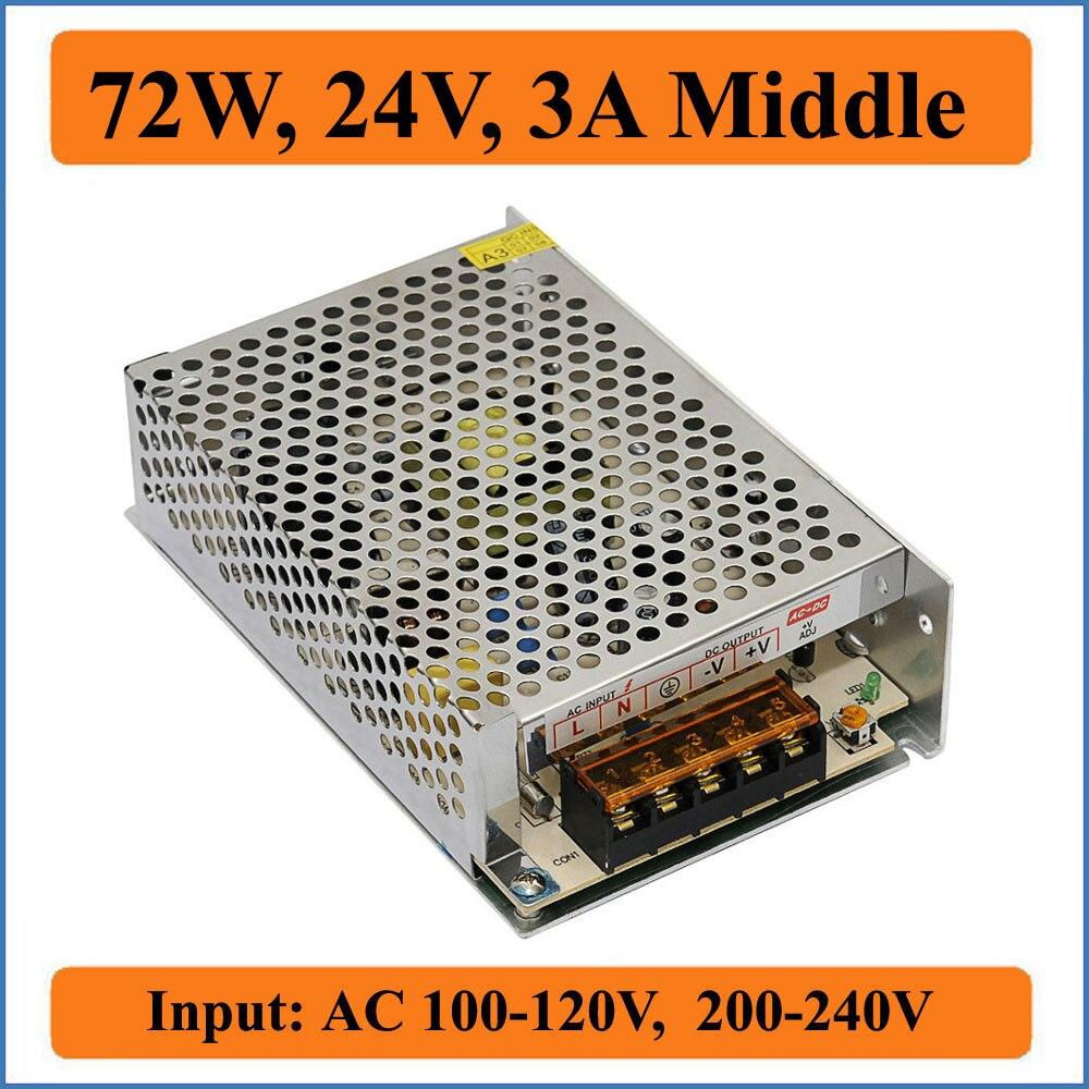 72W 24V 3A Middel Single Switching Power Supply AC 100-120V/200-240V input to DC 24V Output for LED Strip lights Driver Module 1200w 48v adjustable 220v input single output switching power supply for led strip light ac to dc