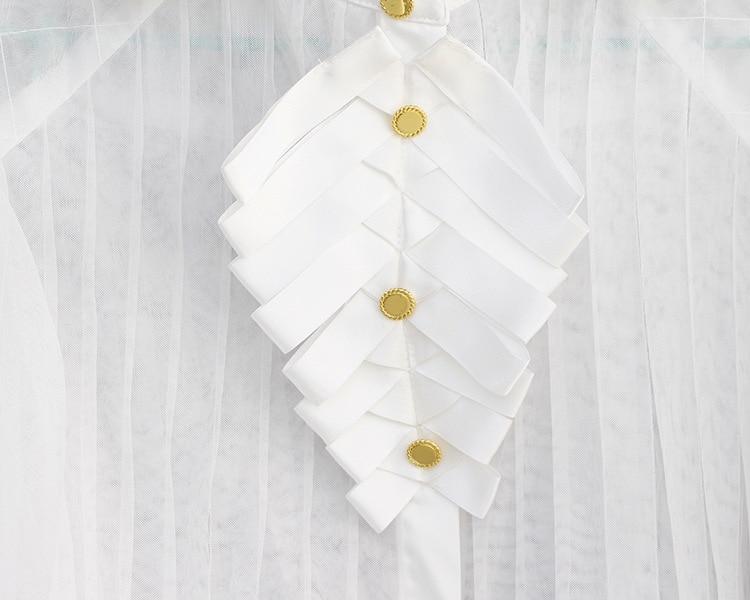 Lujo Mujeres Otoño Marca Diseñador Beige Linterna Manga Turn Q118 Blanca Pista Tops Blusa Alta Camisa Runway Collar Down De Calidad 5xppEnqI