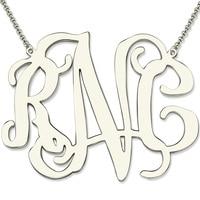 Wholesale XXL 2 Inch Sterling SilverCelebrity Monogram Necklace Personalized Large Size Monogram Statement Jewelry Wedding Gift