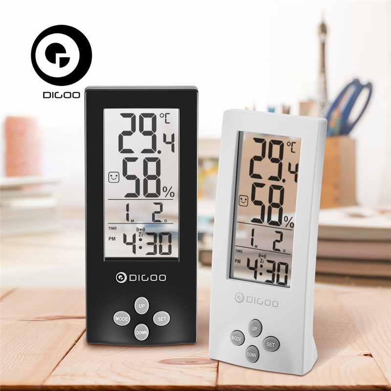 Digoo DG-TH1177 TH1177 Wireless Digital Transparent Screen Weather Station Indoor Hygrometer Thermometer Sensor Alarm Clock