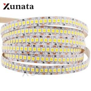 Image 1 - 2835 SMD tira LED 240 LEDs/m 5 M 300/600/1200 Leds DC12V alta brillante Flexible cinta de cinta de cuerda LED blanco cálido/blanco frío