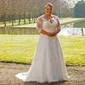 New Flowers A Line Wedding Dress See Through 3/4 Sleeves Applique Beading Princess Bride Dresses vestido de noiva