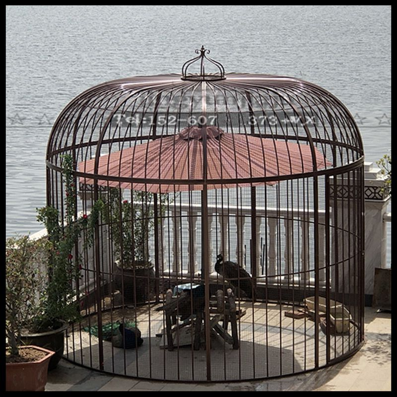 Cage à oiseaux en fer forgé paon perroquet starling muguet cage à oiseaux décorée en plein air grande cage à oiseaux (Plus le filet n'ajoute pas de fond) - 6