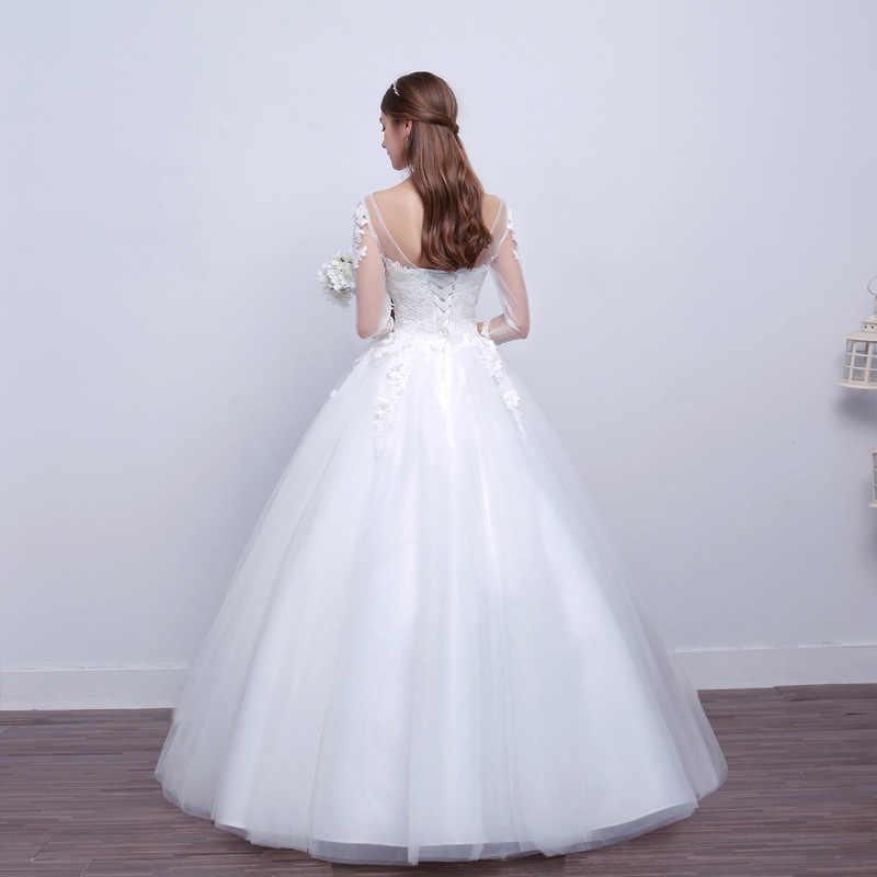 Vivian's Bridal 2018 свадебное платье с кружевными аппликациями и рукавами белое Элегантное Свадебное бальное платье с открытой спиной и шнуровкой