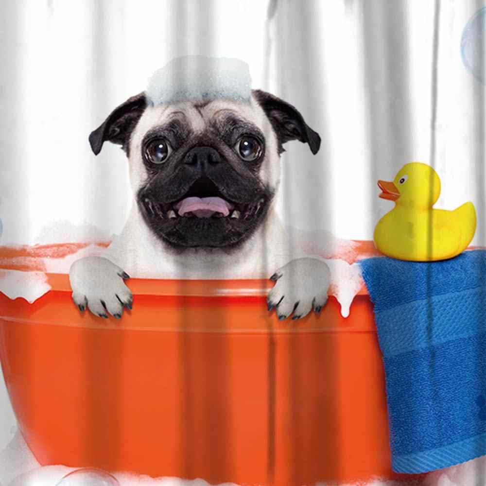 Miracille لطيف الكلب و القط الطباعة حمام ديكور المنزل ستائر الحمام للماء مع 12 السنانير