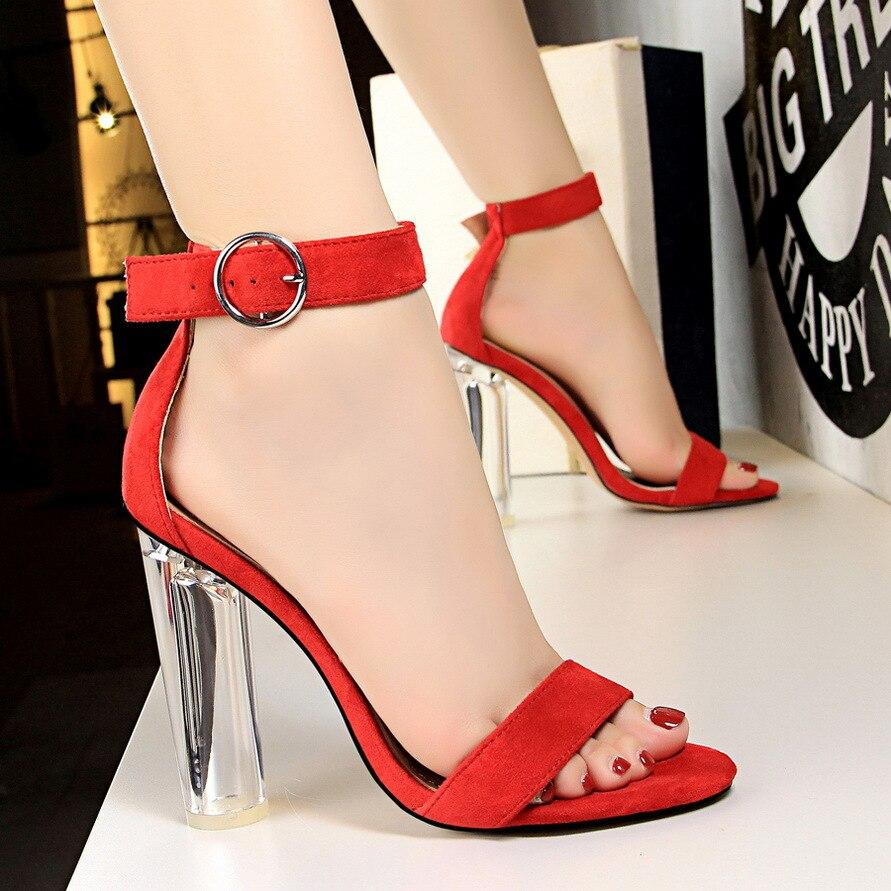 Hauts light Chaussures Femmes Ouvert kaki Épais D'été À Sandale Nouvelles Sandales 3952 Noir Pink En Bout 2018 Talons rouge Daim Sexy gris nUgqwIBpB