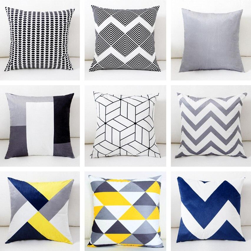 Us 3 99 20 Off Yellow Grey Blue Decorative Cushion Cover Home Decor Velvet Pillow For Sofa 45 45cm Geometric Pillowcase Pillowsham In