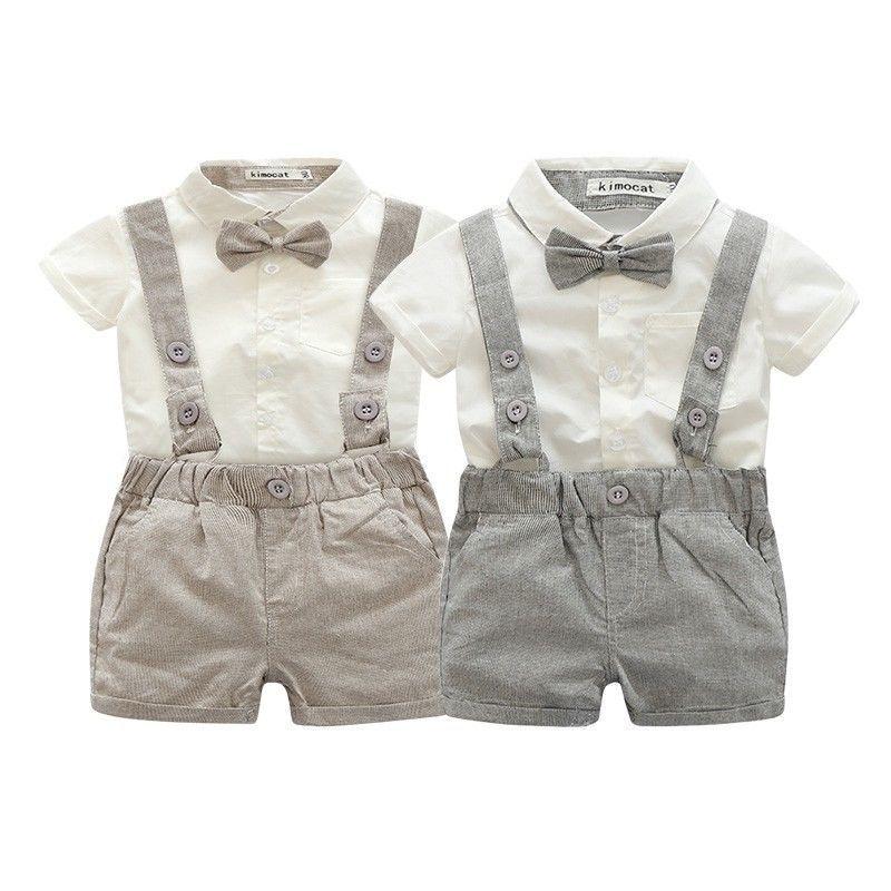 Baby boys Clothing Sets infant bow tie+white Shirt+short overalls 3pcs/set newborn clothes grey Belt pants