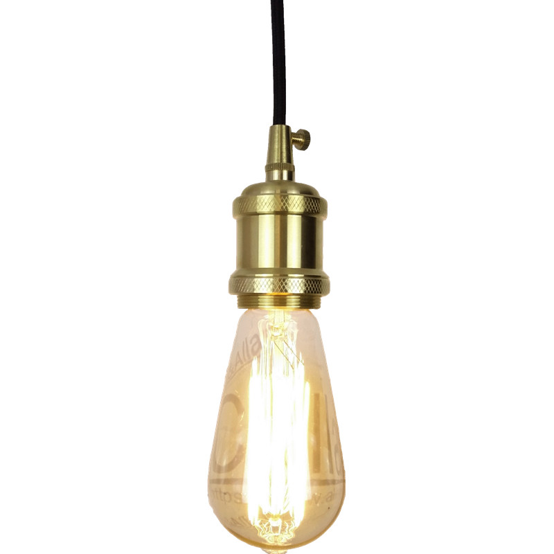E27 brass socket with black fabric wire and ceiling mount copper ...